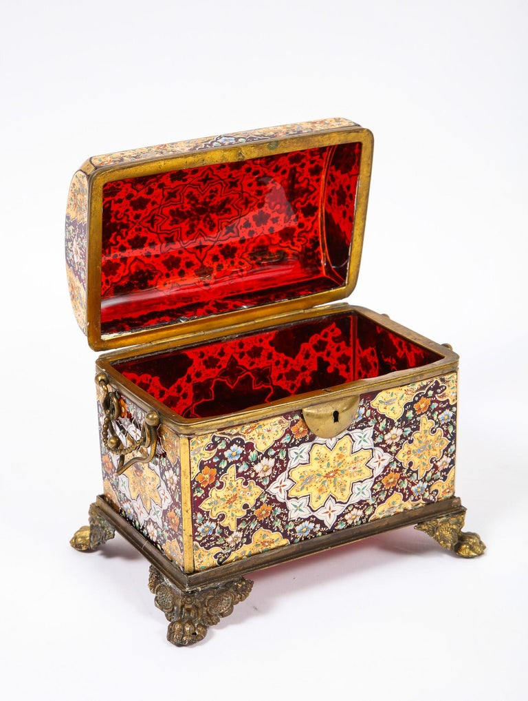 Late 19th Century Red-Cranberry Moser Crystal and Enameled Box Made for the Islamic/Moorish Market For Sale