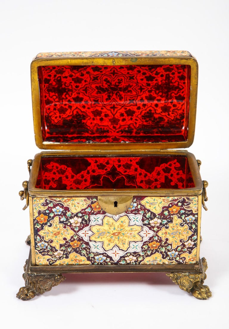 Glass Red-Cranberry Moser Crystal and Enameled Box Made for the Islamic/Moorish Market For Sale