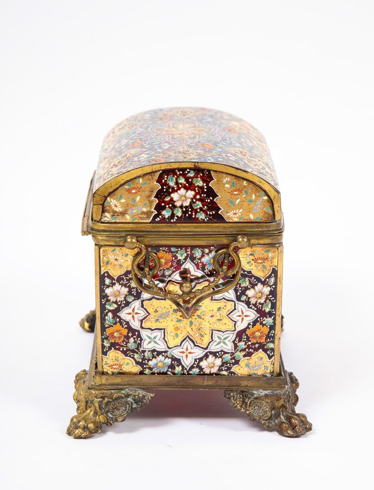 Red-Cranberry Moser Crystal and Enameled Box Made for the Islamic/Moorish Market For Sale 1