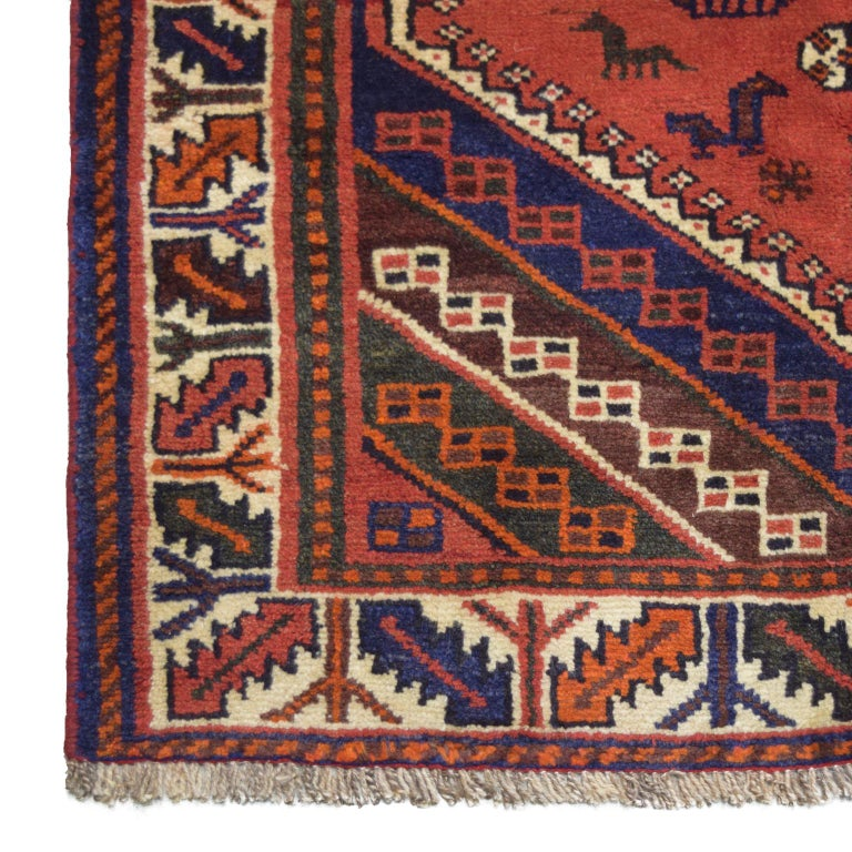 Vegetable Dyed Red, Cream, and Indigo Traditional Persian Ghashghai Carpet For Sale