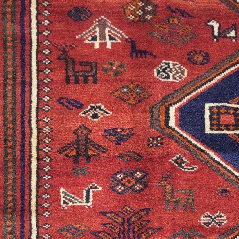 Red, Cream, and Indigo Traditional Persian Ghashghai Carpet In Excellent Condition For Sale In New York, NY