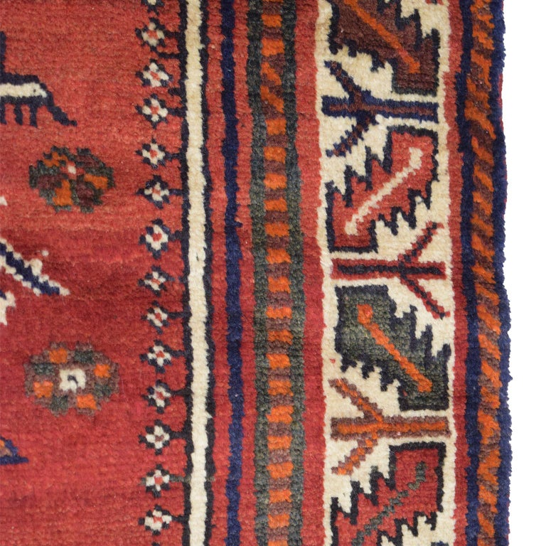 Mid-20th Century Red, Cream, and Indigo Traditional Persian Ghashghai Carpet For Sale