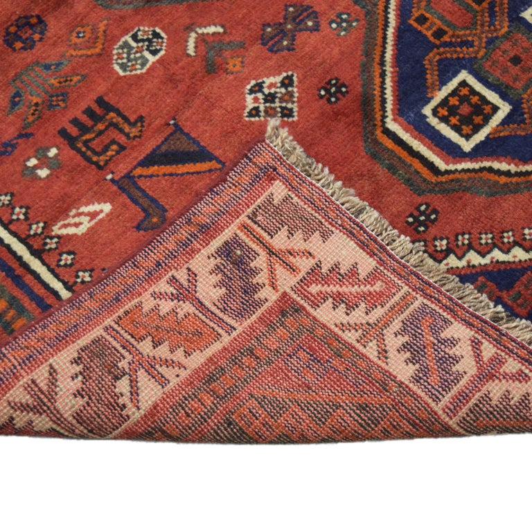 Wool Red, Cream, and Indigo Traditional Persian Ghashghai Carpet For Sale