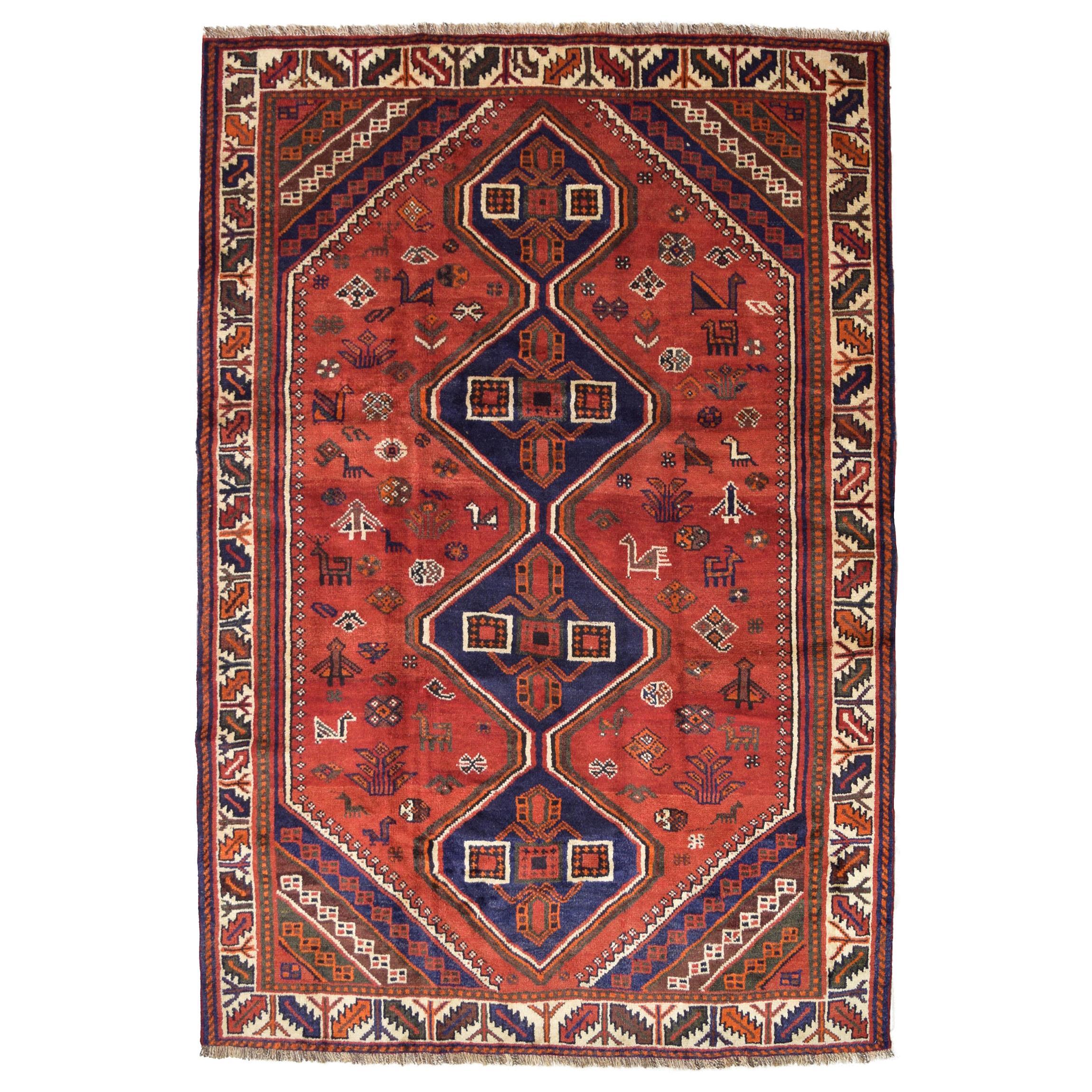 Red, Cream, and Indigo Traditional Persian Ghashghai Carpet
