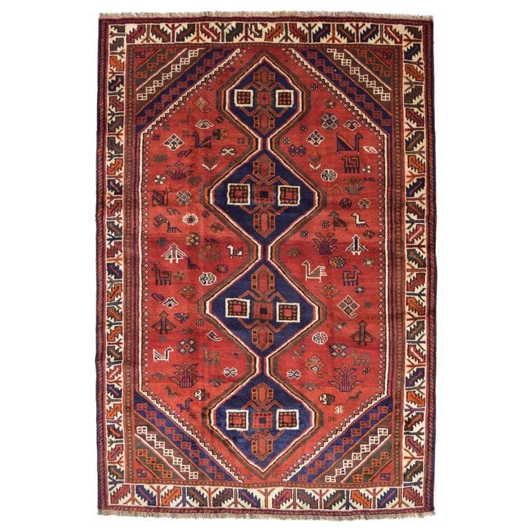 Red, Cream, and Indigo Traditional Persian Ghashghai Carpet For Sale