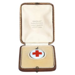 Red Cross Enamel Pendant Original Box, 1920