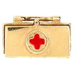 Red Cross Medical Bag with Wine Goblet Inside
