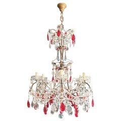 Red Crystal Chandelier Antique Brass Ceiling Lamp Lustre Art Nouveau Beaded