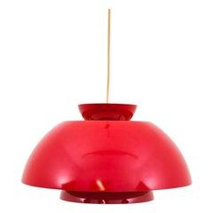 Red Danish Ceiling Lamp, 1970s
