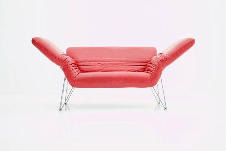 De Sede Leather Sofa DS 142 by Wilfried Totzek in Red Swiss 1988 In Good Condition For Sale In Frankfurt / Dreieich, DE