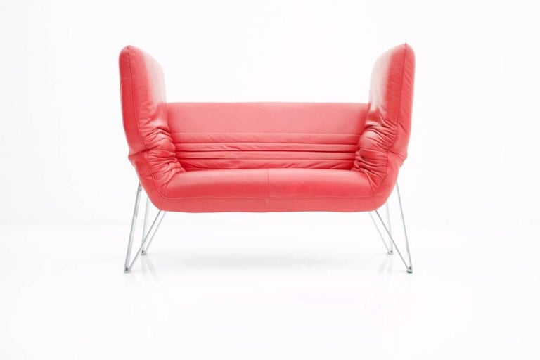 Late 20th Century De Sede Leather Sofa DS 142 by Wilfried Totzek in Red Swiss 1988 For Sale