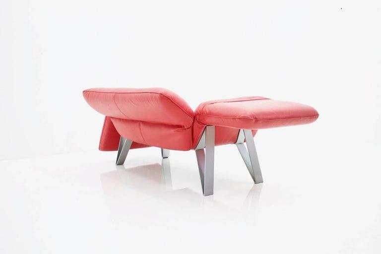 Metal De Sede Leather Sofa DS 142 by Wilfried Totzek in Red Swiss 1988 For Sale