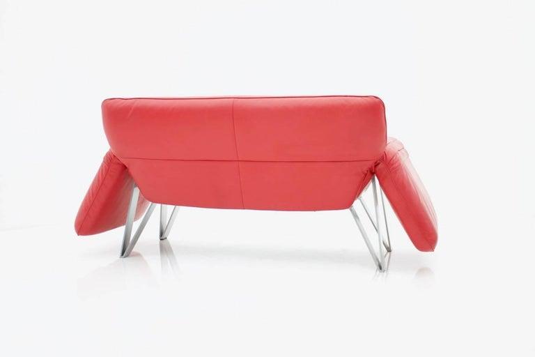 De Sede Leather Sofa DS 142 by Wilfried Totzek in Red Swiss 1988 For Sale 1