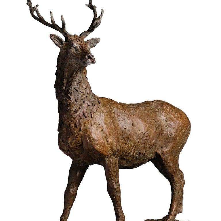 Modern Red Deer Stag Sculpture For Sale