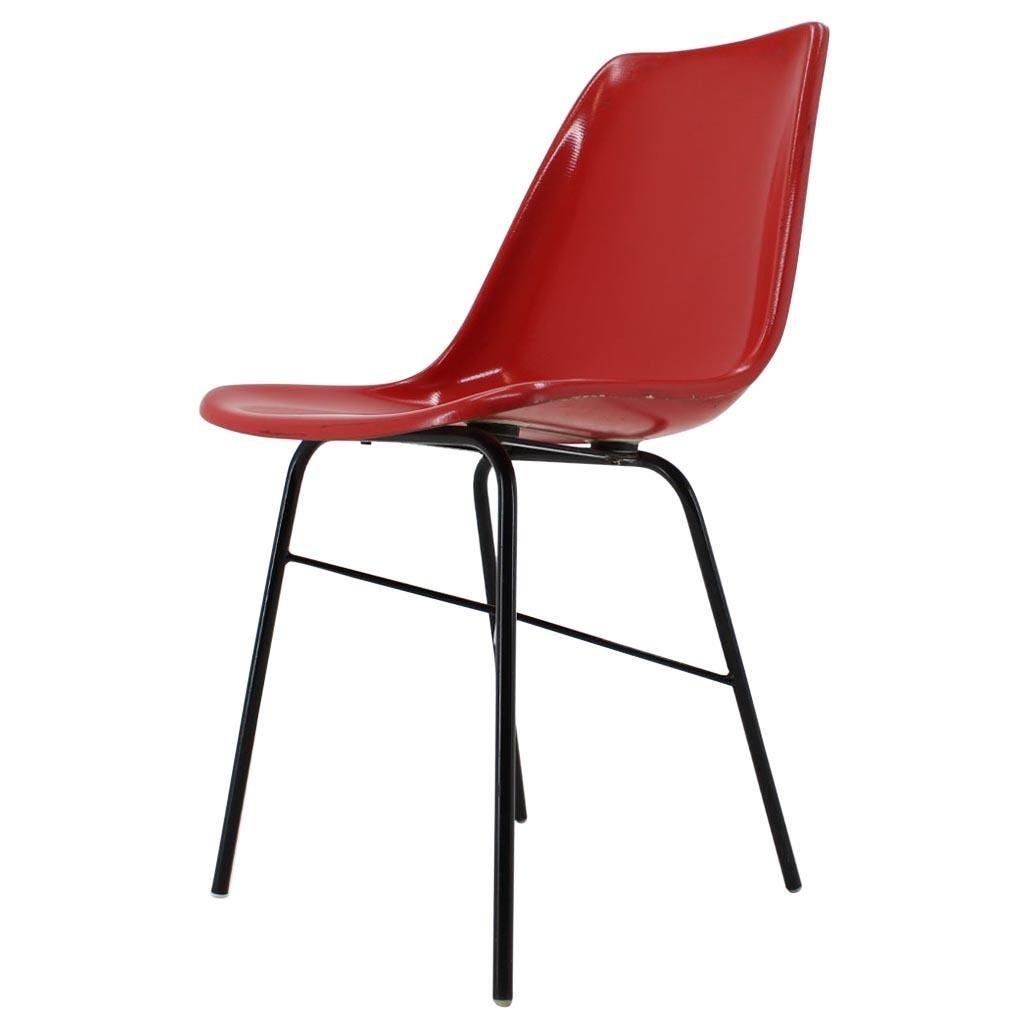 Red Design Fiberglass Dining, Desk Chair / Czechoslovakia, 1960s