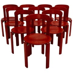 Mid Century Modern Red Beech Vintage Dining Chairs by Bruno Rey 1970s Set of Ten
