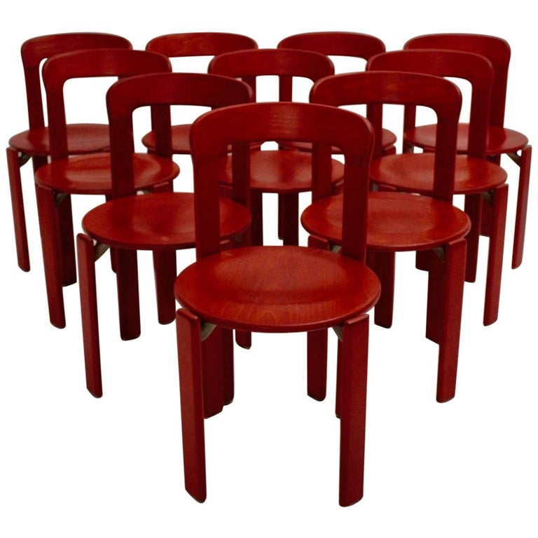 Red Dining Room Chairs By Bruno Rey 1970s Set Of Ten For Sale
