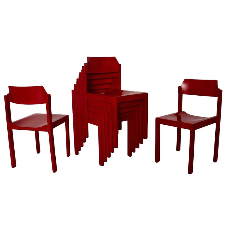 Mid Century Modern Red Vintage Beech Dining Room Chairs 1960s For Sale