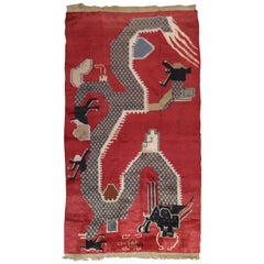Red Dragon Chinese Vintage Rug