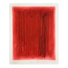 Red Echo by Adja Yunkers, Abstract Lithograph, Signed