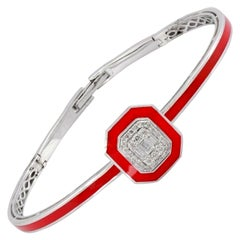 Red Enamel 18 Karat White Gold Diamond Bangle Bracelet