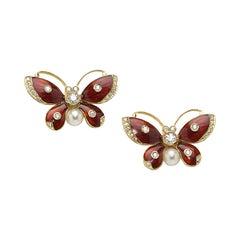 Red Enamel and Diamond Butterfly Earrings