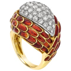 Red Enamel and Diamond Dome Cocktail Ring