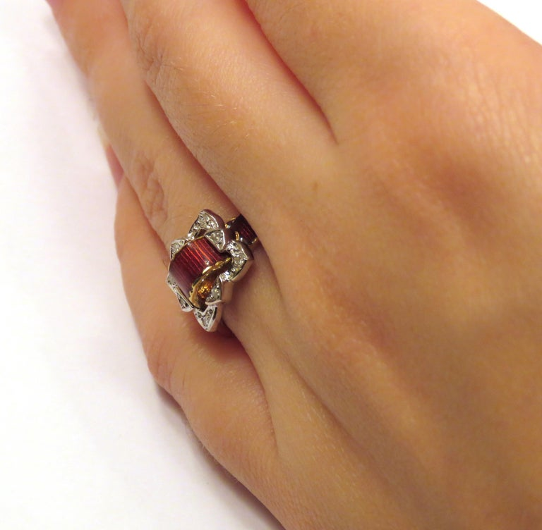 Women's Antique Red Enamel Diamonds Yellow Gold Buckle Ring For Sale