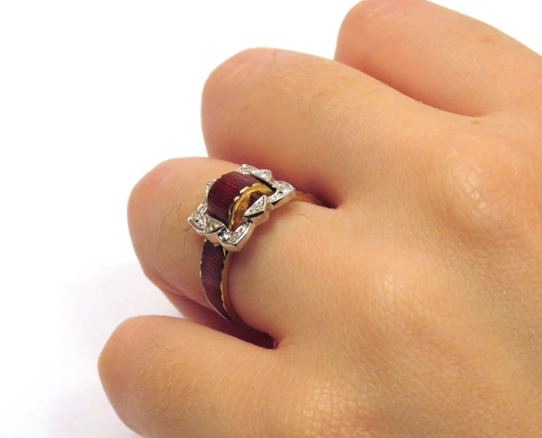 Antique Red Enamel Diamonds Yellow Gold Buckle Ring For Sale 1