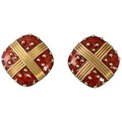 Red Enamel Gold Earrings