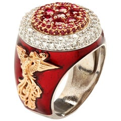 Red Enamel Men's Ring with Ruby and Diamonds White and Rose Gold Stambolian
