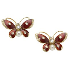 Diamond and Pearl Red Enamel Gold Butterfly Earrings