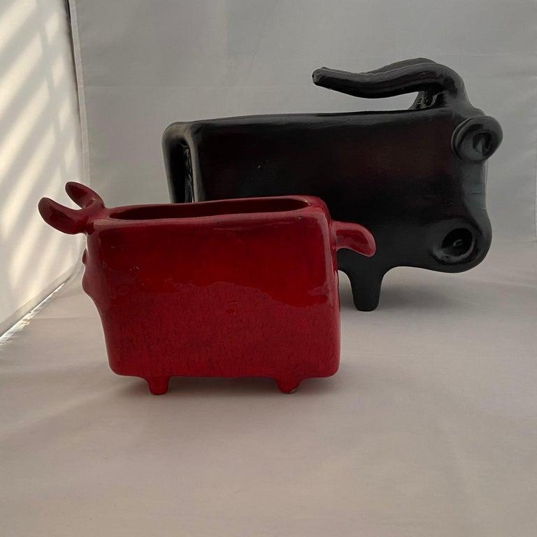 Mid-Century Modern Red Enameled Ceramic Vase