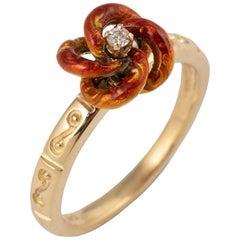 Red Enameled Diamond 18 Karat Gold Knot Ring