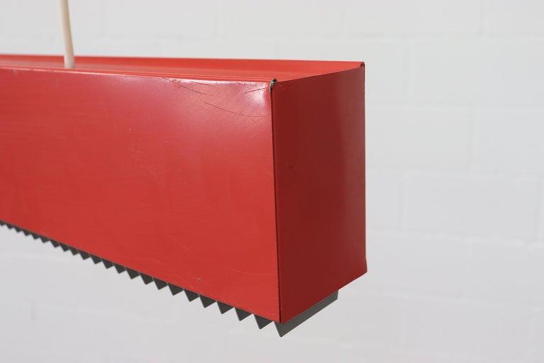 Mid-Century Modern Red Enameled Metal Linear Fluorescent Work Light For Sale