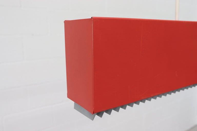 Red Enameled Metal Linear Fluorescent Work Light For Sale 2