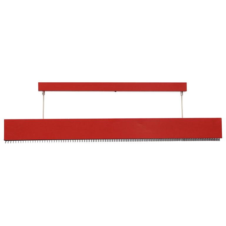 Red Enameled Metal Linear Fluorescent Work Light For Sale
