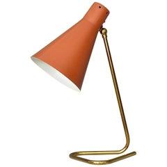 Table Wall Lamp Red Enameled Triangle Brass Stilnovo Arteluce Kalmar Oluce 1950s