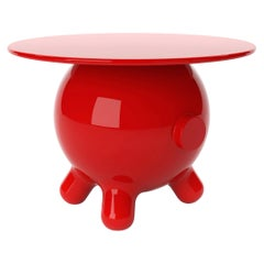 Red Extra Large Side Table, Decorative Auxiliary Table, Pogo by Joel Escalona