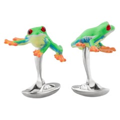 Red-Eyed Poisonous Frog Cufflinks in Hand-enameled Silver by Fils Unique