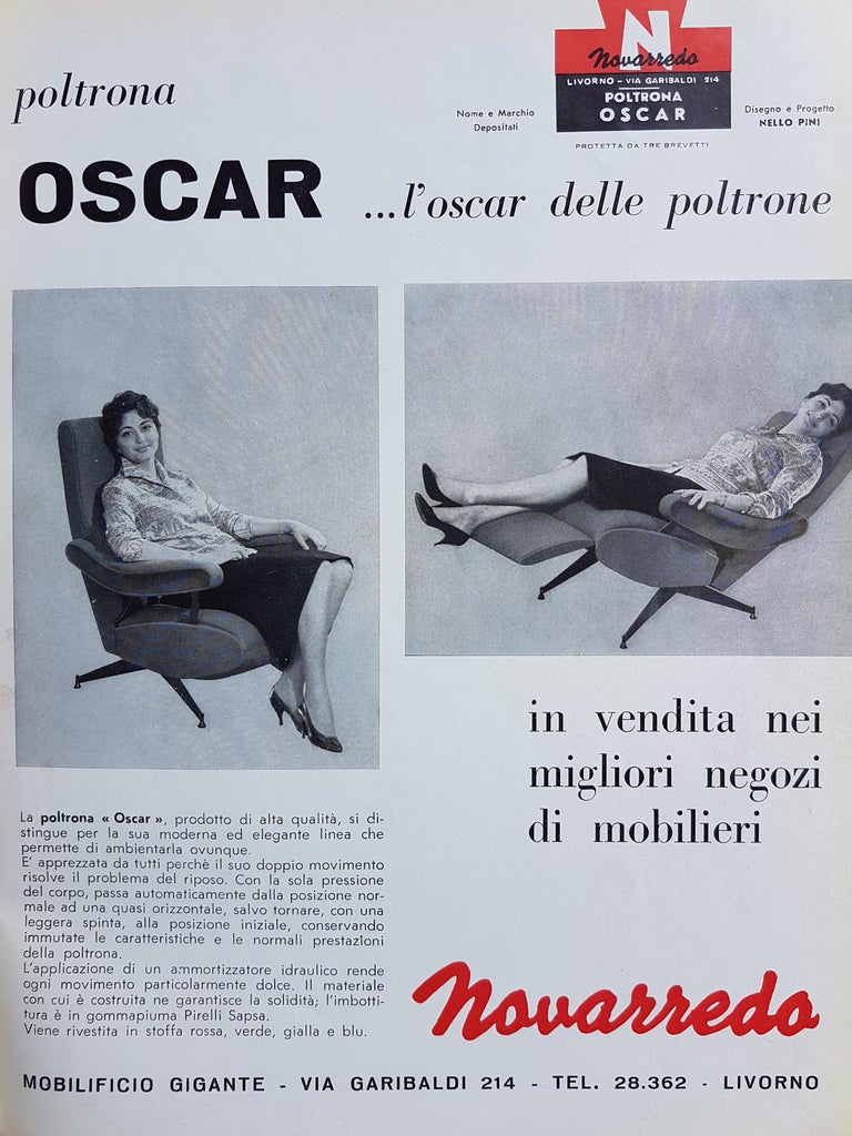 Red Fabric & Black Metal Reclining Armchair Oscar by N. Pini for Novarredo, 1959 For Sale 8