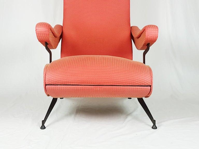Italian Red Fabric & Black Metal Reclining Armchair Oscar by N. Pini for Novarredo, 1959 For Sale