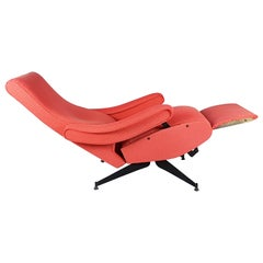 Red Fabric & Black Metal Reclining Armchair Oscar by N. Pini for Novarredo, 1959