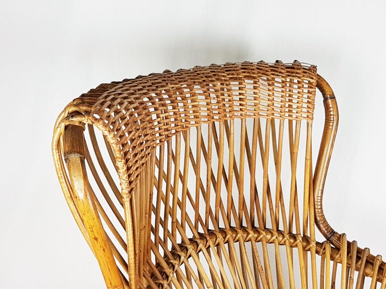 Red Fabric, Wicker & Rush 1951 Margherita armchair by Albini Helg for Bonacina For Sale 4