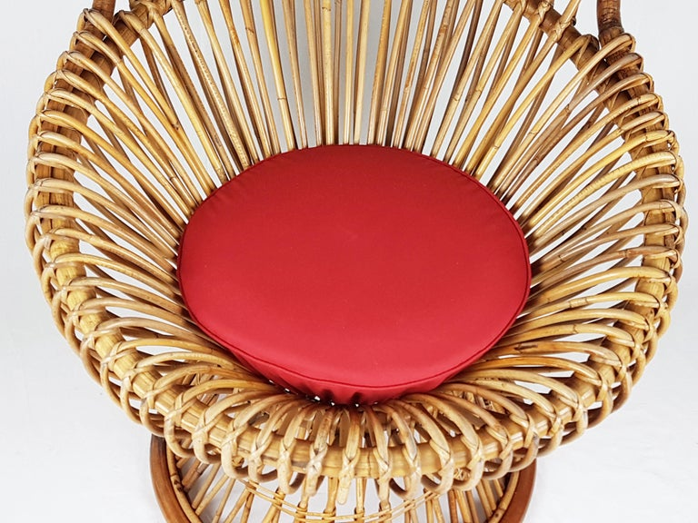 Mid-Century Modern Red Fabric, Wicker & Rush 1951 Margherita armchair by Albini Helg for Bonacina For Sale