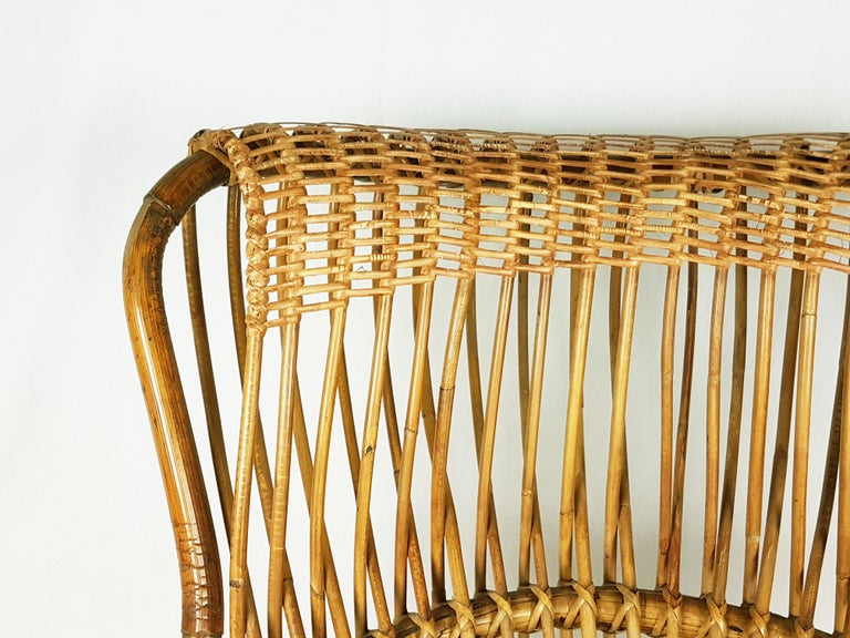 Red Fabric, Wicker & Rush 1951 Margherita armchair by Albini Helg for Bonacina In Good Condition For Sale In Varese, Lombardia