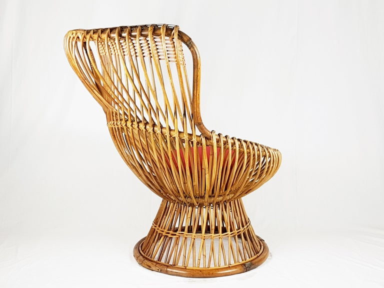 Red Fabric, Wicker & Rush 1951 Margherita armchair by Albini Helg for Bonacina For Sale 1