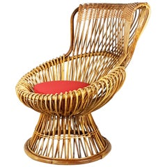 Red Fabric, Wicker & Rush 1951 Margherita armchair by Albini Helg for Bonacina