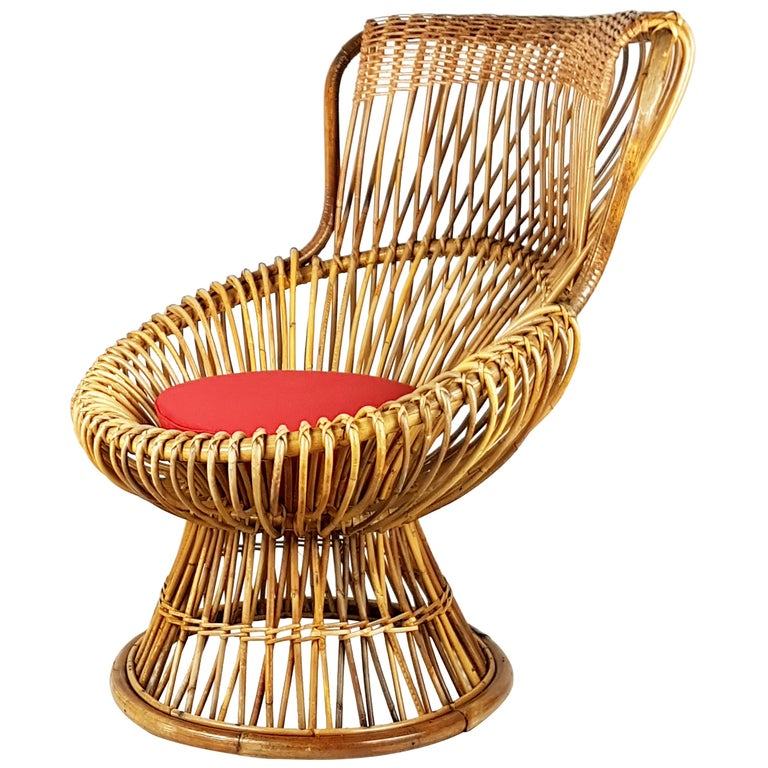 Red Fabric, Wicker & Rush 1951 Margherita armchair by Albini Helg for Bonacina For Sale
