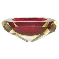 Red Faceted Sommerso Bowl by Mandruzzato FINAL CLEARANCE SALE